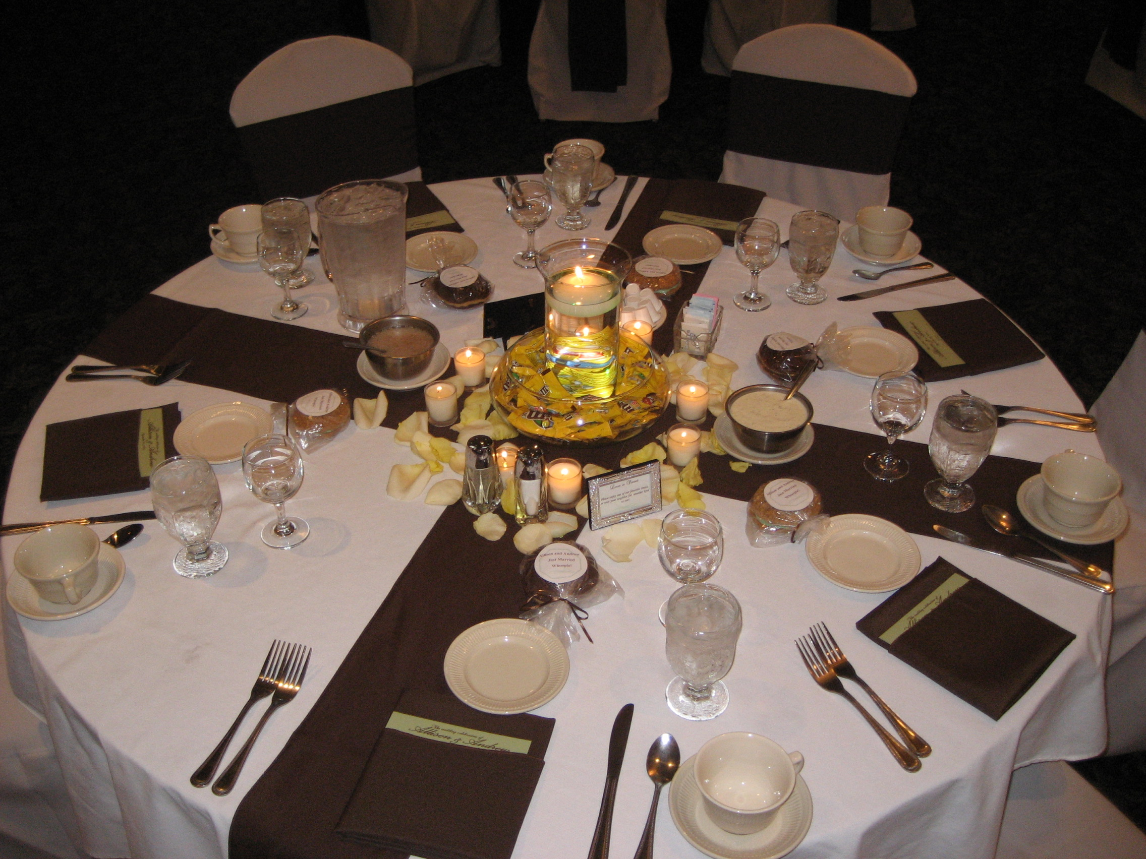 Table layout with candy centerpieces brilliant a