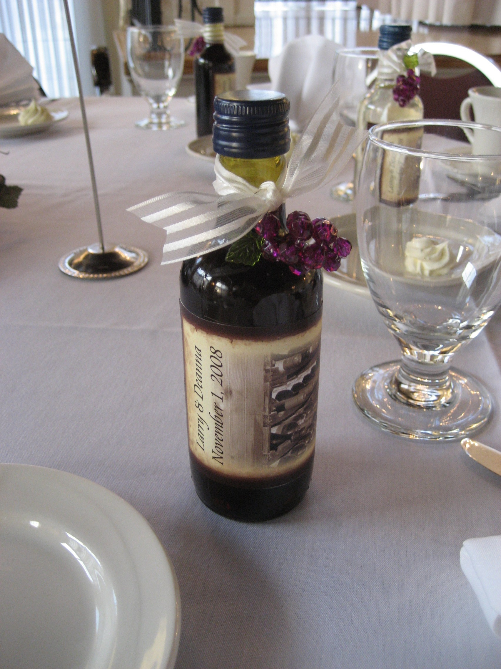 Mini Wine bottles with custom lables were a hit as favors | A ...