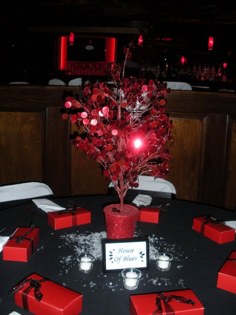 Wedding Recap Amy and Andy 121209 Red Disco Tree Centerpieces